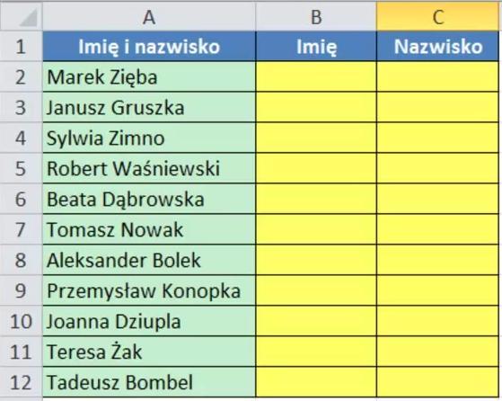 Tabela początkowa - imię i nazwisko
