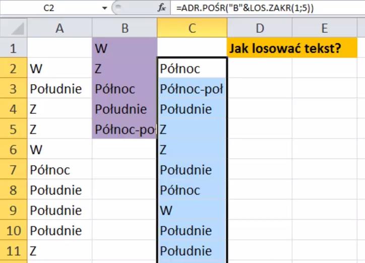 Excel - losowanie tekstu po zmianach