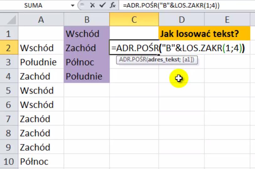 Excel - losowanie tekstu
