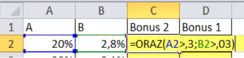 Funkcja ORAZ() - 2 Bonus