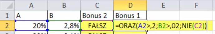 Funkcja ORAZ() i NIE() - 1 Bonus
