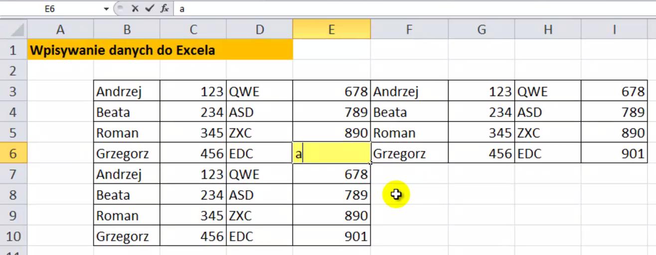 Wpisywanie danych w Excelu