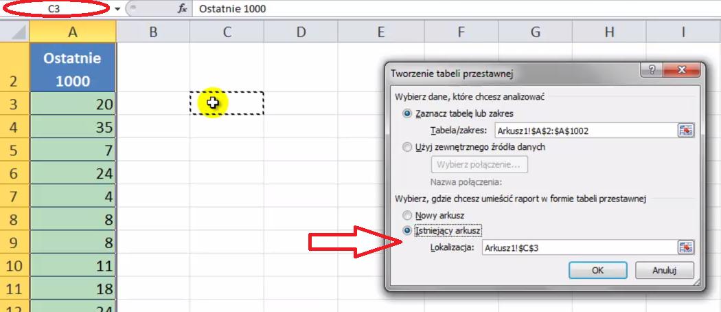 Wstawianie tabeli przestawnej do aktualnego arkusza