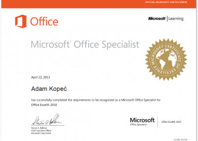 Microsoft Office Specialist - Excel 2010