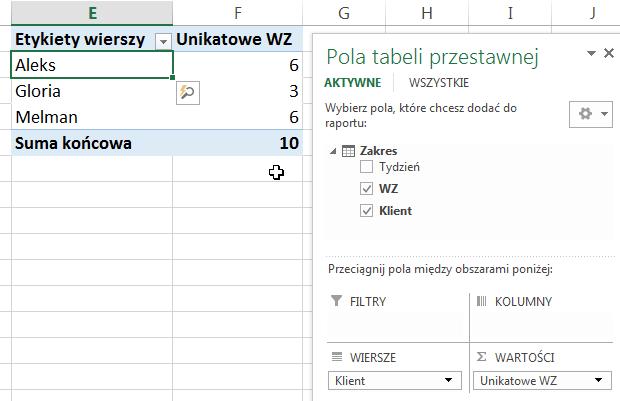 Widzowie 91 - Jak obliczyć unikalną ilość elementów pod warunkiem - tabela przestawna Excel 2013 06