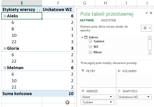 Widzowie 91 - Jak obliczyć unikalną ilość elementów pod warunkiem - tabela przestawna Excel 2013 07