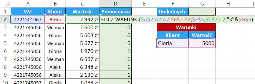 Excel - Jak obliczyć unikalną ilość elementów pod warunkiem - kolumna pomocnicza 03
