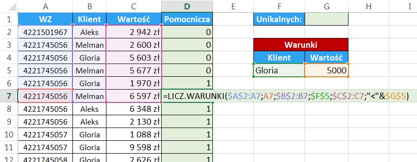 Excel - Jak obliczyć unikalną ilość elementów pod warunkiem - kolumna pomocnicza 04