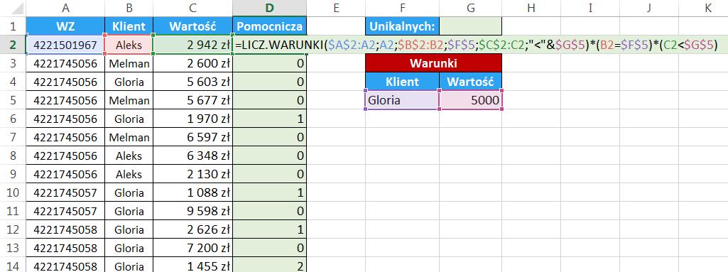 Excel - Jak obliczyć unikalną ilość elementów pod warunkiem - kolumna pomocnicza 05