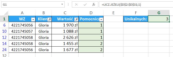 Excel - Jak obliczyć unikalną ilość elementów pod warunkiem - kolumna pomocnicza 06