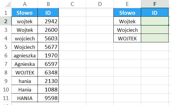 Widzowie 93 - Jak sprawić by WYSZUKAJ.PIONOWO zwracał uwagę na wielkość liter 01