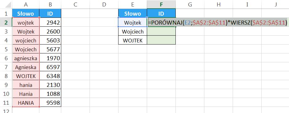 Widzowie 93 - Jak sprawić by WYSZUKAJ.PIONOWO zwracał uwagę na wielkość liter 04