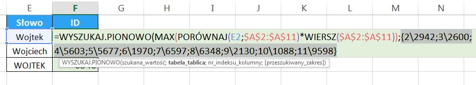 Widzowie 93 - Jak sprawić by WYSZUKAJ.PIONOWO zwracał uwagę na wielkość liter 07