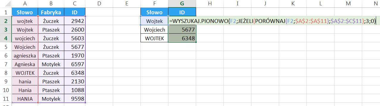 Widzowie 94 - Jak wyszukiwać z uwzględnieniem wielkości liter WYSZUKAJ.PIONOWO prostsze 06