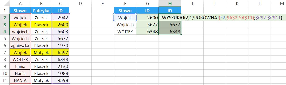 Widzowie 95 - Jak wyszukiwać z uwzględnieniem wielkości liter różne funkcje 06