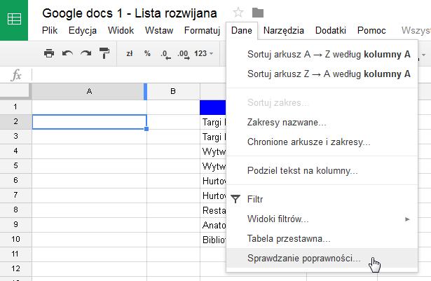 Google Docs 1 - Lista rozwijana z opcją wyszukiwania 02