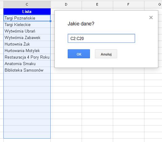 Google Docs 1 - Lista rozwijana z opcją wyszukiwania 04