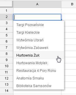 Google Docs 1 - Lista rozwijana z opcją wyszukiwania 07