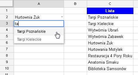 Google Docs 1 - Lista rozwijana z opcją wyszukiwania 08