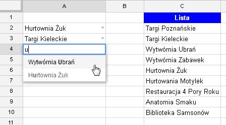 Google Docs 1 - Lista rozwijana z opcją wyszukiwania 09