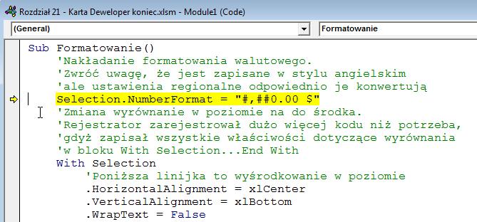 Wstęp do makr 07 - - Tłumaczenie makra formatującego komórki i jego modyfikacja 03