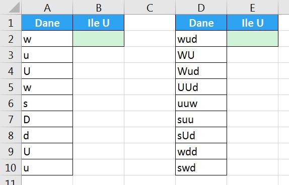 Porada 285 - Jak policzyć ilość wielkiej litery U w komórkach 01