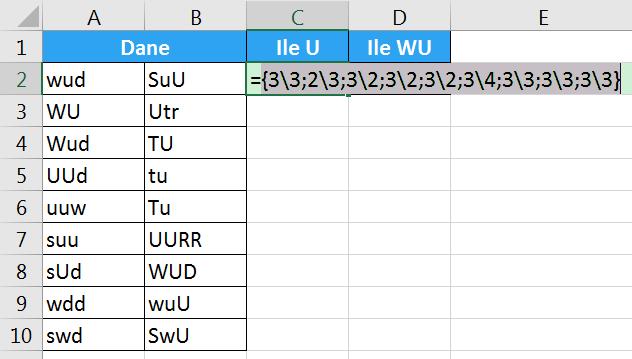 Porada 287 - Jak policzyć ilość wielkiej litery U w komórkach 02