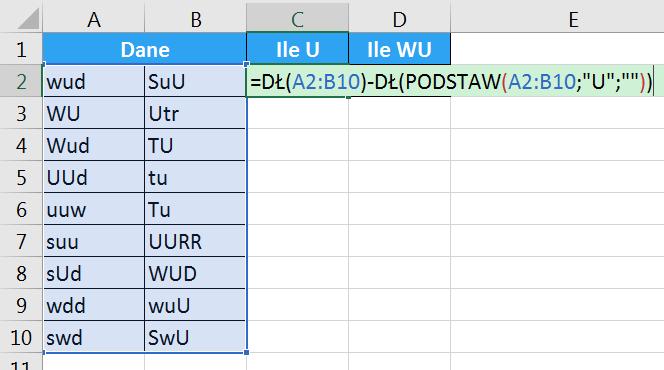 Porada 287 - Jak policzyć ilość wielkiej litery U w komórkach 03