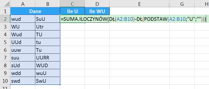 Porada 287 - Jak policzyć ilość wielkiej litery U w komórkach 04