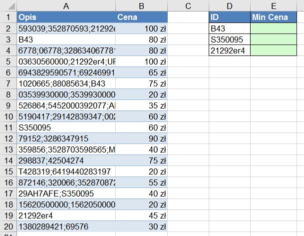 Widzowie 110 - Jak znaleźć minimalną cenę dla produktu po jego ID w części opisu funkcja AGREGUJ 01