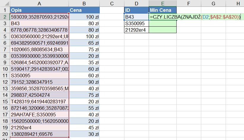 Widzowie 110 - Jak znaleźć minimalną cenę dla produktu po jego ID w części opisu funkcja AGREGUJ 03