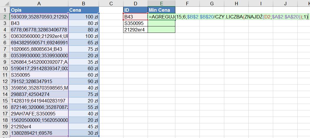 Widzowie 110 - Jak znaleźć minimalną cenę dla produktu po jego ID w części opisu funkcja AGREGUJ 05