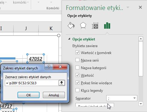 Porada 289 - Jak wstawić etykiety danych z komórek do wykresu Excel 2013 05