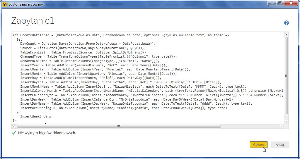 PowerBI 01 - Tworzenie tabeli kalendarza za pomocą funkcji w Power BI 03