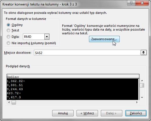 Porada 292 - Zamiana angielskich liczb na polskie za pomocą Tekst jako kolumny 02