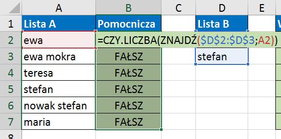 Widzowie 117 - Jak znaleźć wartości z listy A, które zawierają elementy listy B 03