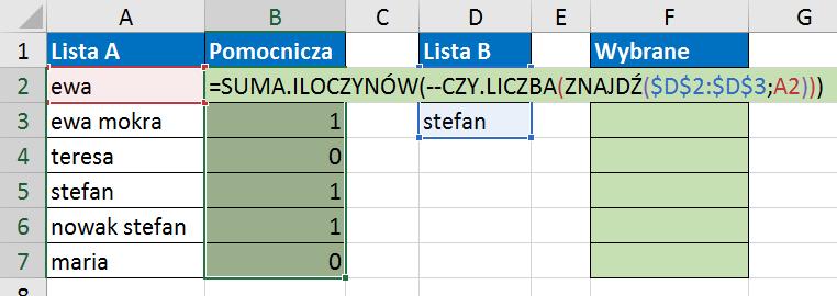 Widzowie 117 - Jak znaleźć wartości z listy A, które zawierają elementy listy B 04