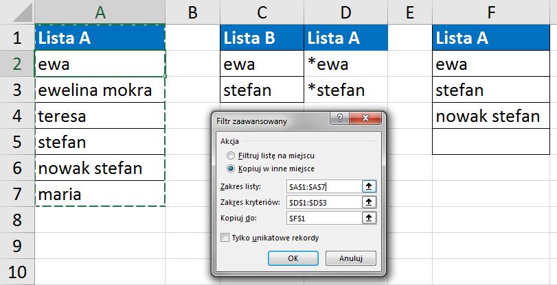 Widzowie 118 - Elementy z listy A, które zawierają elementy z listy B (filtry zaawansowane) 03