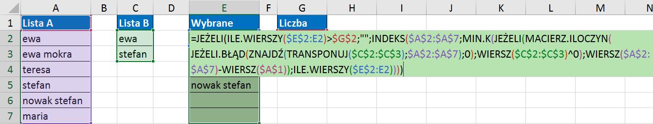 Widzowie 119 - Jak znaleźć wartości z listy A, które zawierają elementy listy B 07