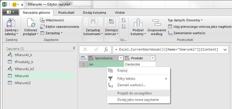 PQ 10 - Jak pobierać wartość z Excela do PowerQuery 03