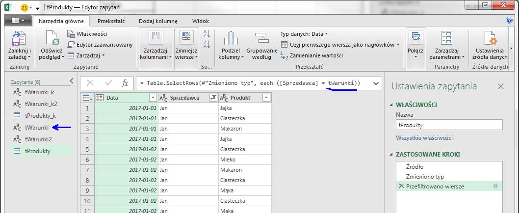 PQ 10 - Jak pobierać wartość z Excela do PowerQuery 07