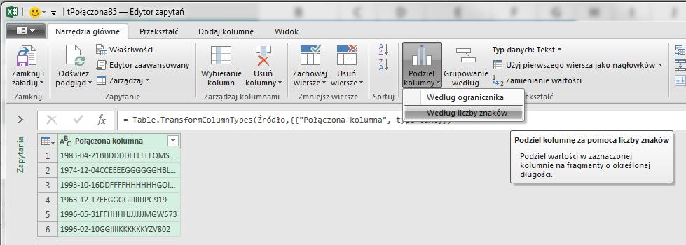 PQ 3 - Podział kolumny po ilości znaków - 06