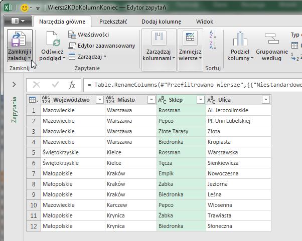 PQ 6 - Wiersze z wieloma rekordami do prawidłowego zestawu danych - podział ogranicznikiem 12