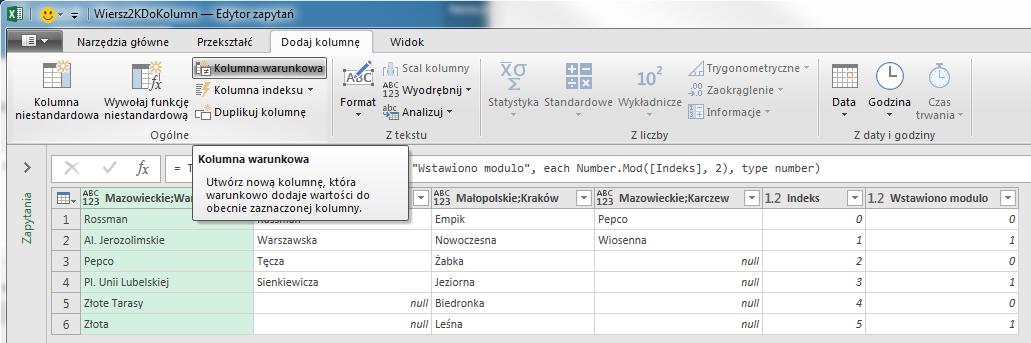 PQ 7 - Wiersze z wieloma rekordami do prawidłowego zestawu danych - scalanie 1 zapytania 09
