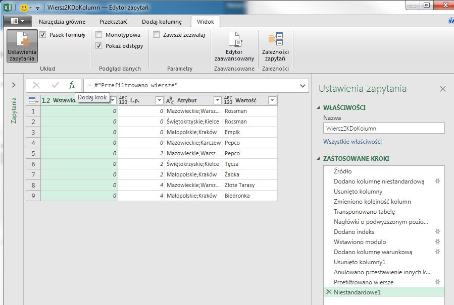PQ 7 - Wiersze z wieloma rekordami do prawidłowego zestawu danych - scalanie 1 zapytania 13