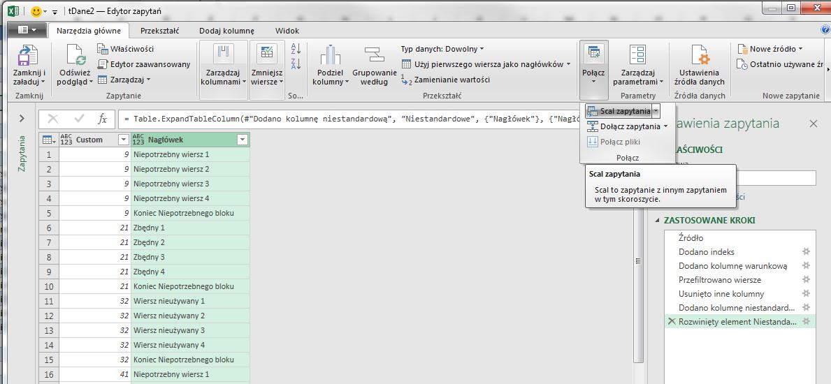 PQ 11 - Jak usuwać grupy wierszy, który kończy konkretny tekst (10)