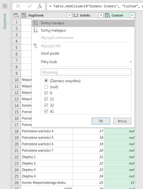 PQ 11 - Jak usuwać grupy wierszy, który kończy konkretny tekst (6)