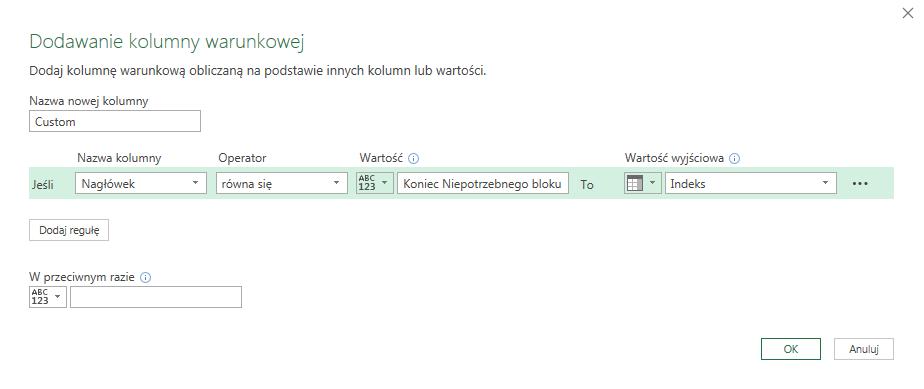 PQ 12 - Jak usuwać grupy wierszy, który kończy konkretny tekst - kolumny indeksów 03