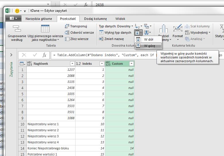 PQ 12 - Jak usuwać grupy wierszy, który kończy konkretny tekst - kolumny indeksów 04