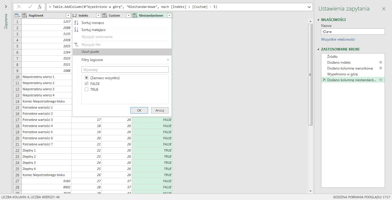 PQ 12 - Jak usuwać grupy wierszy, który kończy konkretny tekst - kolumny indeksów 06